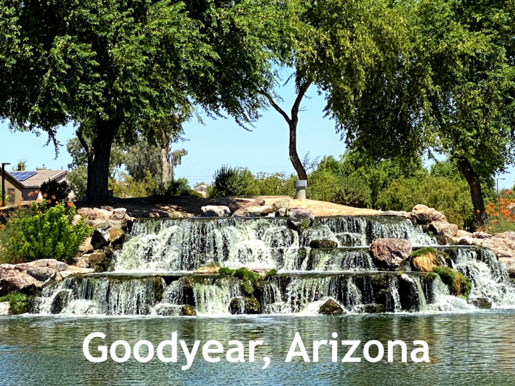 Lake and Waterfall at Rio Paseo Park in Palm Valley in Goodyear Arizona
