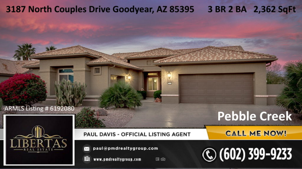 Goodyear Pebble Creek home for sale Front of home Sunset photo