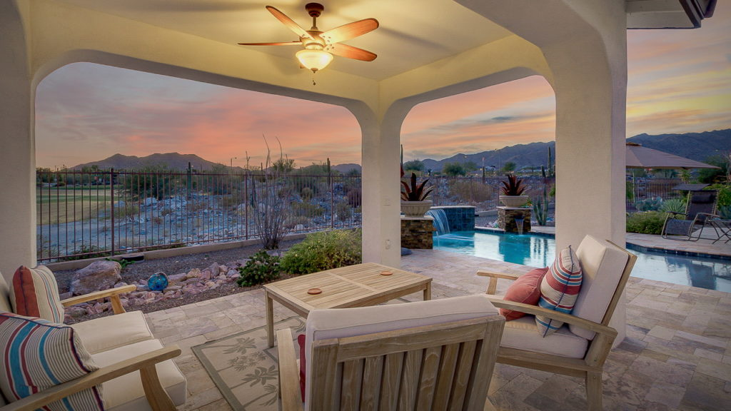 Beautiful David Weekly Home Builders Golf Course Home For Sale at Victory in Verrado in Buckeye Arizona Backyard Pool Pic