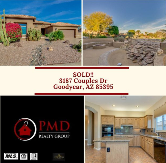 Recent Home for sale listed and sold by PMD Realty Group in Pebble Creek in Goodyear, AZ.