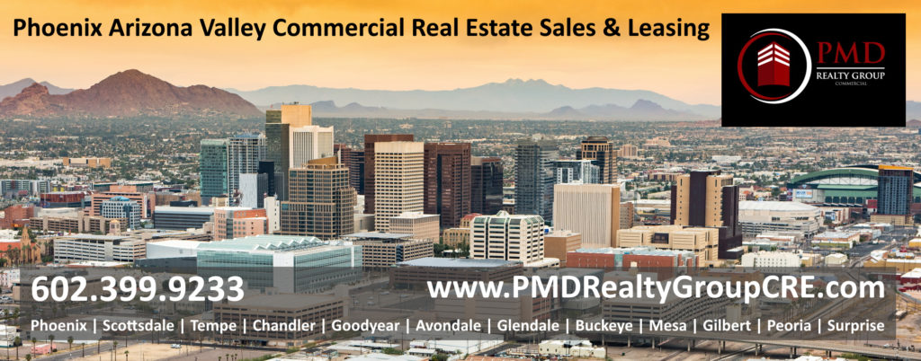 Panoramic aerial view of the Phoenix, Arizona skyline and commercial real estate buildings in downtown Phoenix AZ. views of Tempe Goodyear Mesa Chandler Gilbert Avondale Peoria Glendale AZ